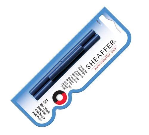 96310 Blue//Black Sheaffer Classic Fountain Pen Ink Cartridges 5-Pack