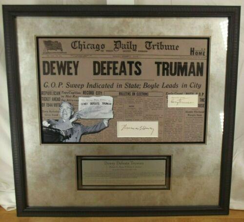 Harry S Truman & Governor Thomas Dewey Infamous 1948 Election Autograph Display