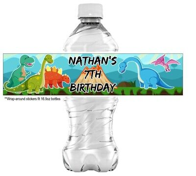 20 Dinosaur Water Bottle Stickers, PARTY FAVORS - birthday labels, T-rex - Dinosaur Birthday Party