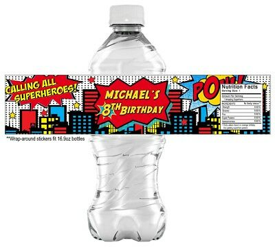 20 Superhero Water Bottle Stickers Labels, PARTY FAVORS CUSTOMIZE birthday hero ()