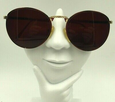 Vintage Anthony Martin Winston 38 Burgundy Gold Metal Round Sunglasses (Winston Sunglasses)