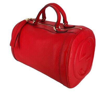 Gucci Medium Soho Boston Bag Red Leather Pebbled calfskin 282302 B170