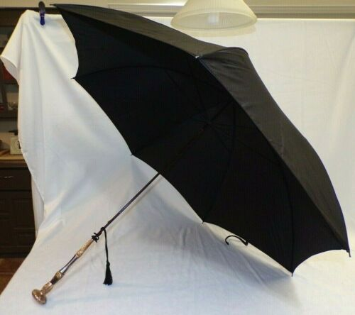 ANTIQUE VICTORIAN MOTHER OF PEARL & GOLD FILLED HANDLE PARASOL UMBRELLA NO TEARS