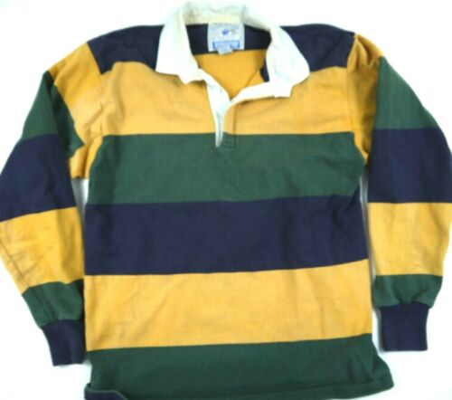 VINTAGE LANDS END AUTHENTIC RUGBY POLO SHIRT BLOCK STRIPE USA LONG SLEEVE mens L