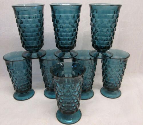 "Set 8 Indiana Glass 6"" WHITEHALL Cubist RIVIERA BLUE Tumblers Glasses Ice Teas"