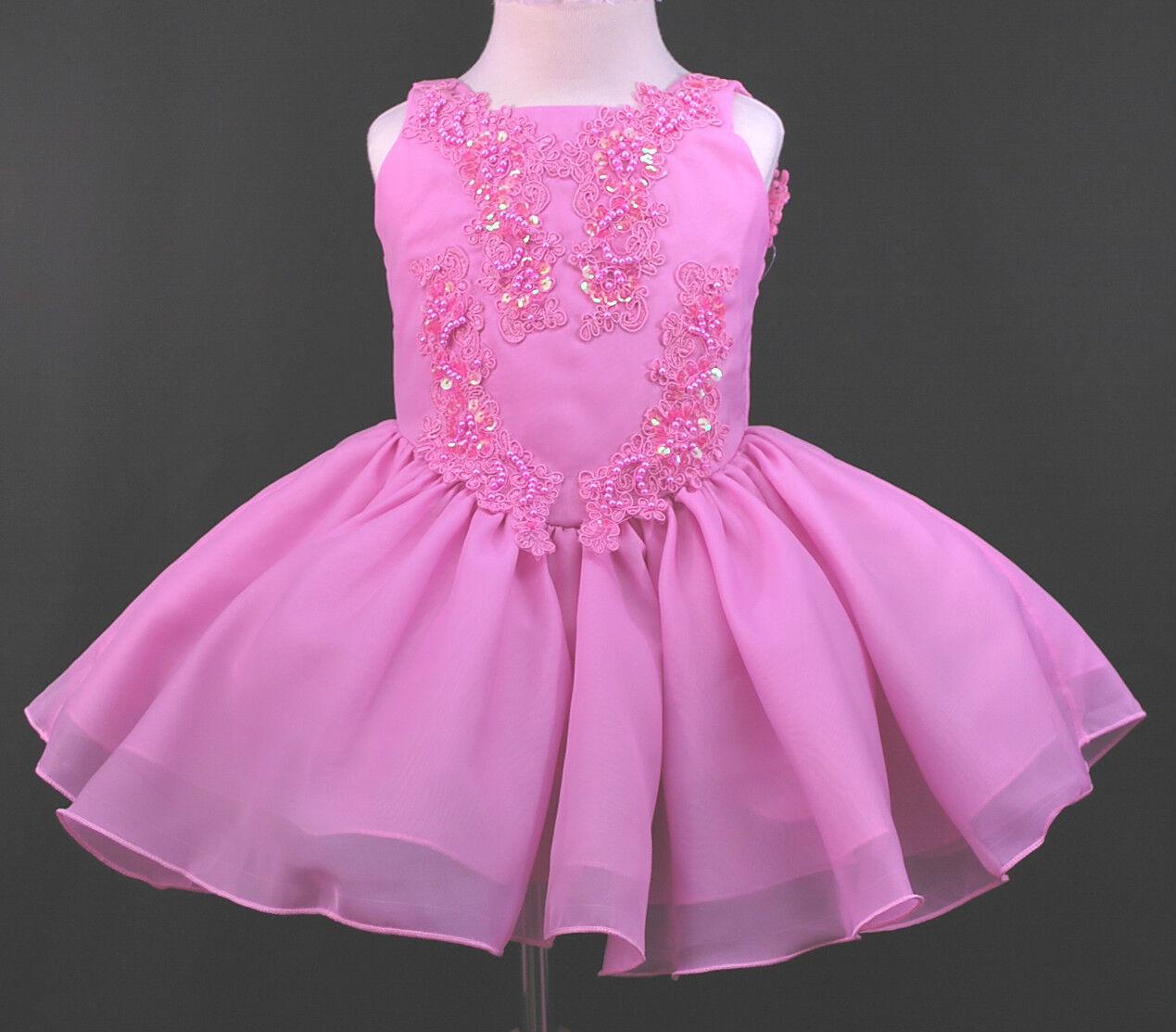 Infant Toddler & Girl Pageant Wedding Formal Short Dress Fuchsia Size:1-7