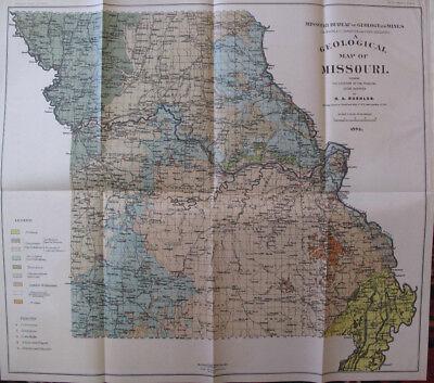Color Geological Map of Missouri St. Louis Kansas City Jefferson City MO 1904