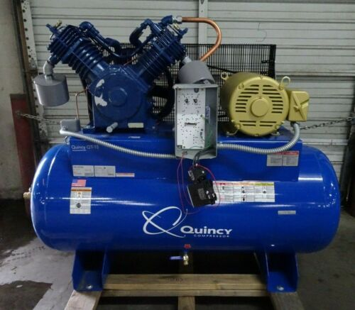 Quincy QT-15 15hp 120 GALLON TWO STAGE AIR COMPRESSOR NEW 3 PHASE 175 PSI 230V