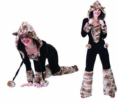 Katzen Kostüm im Leoparden Stil mit Mütze Komplett Kostüm mit Kunstfellbesatz ()