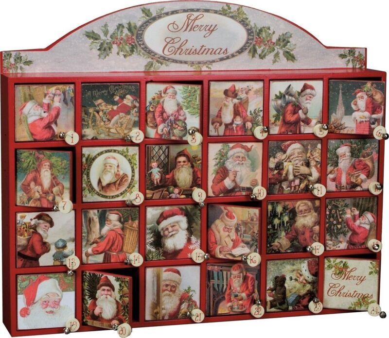 Christmas Countdown Wood Advent Calendar Vintage Merry Santa Primitives By Kathy
