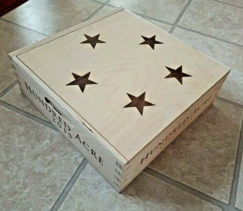 Wooden Wine Crate ~ Hundred Acre w/Hinged Lid