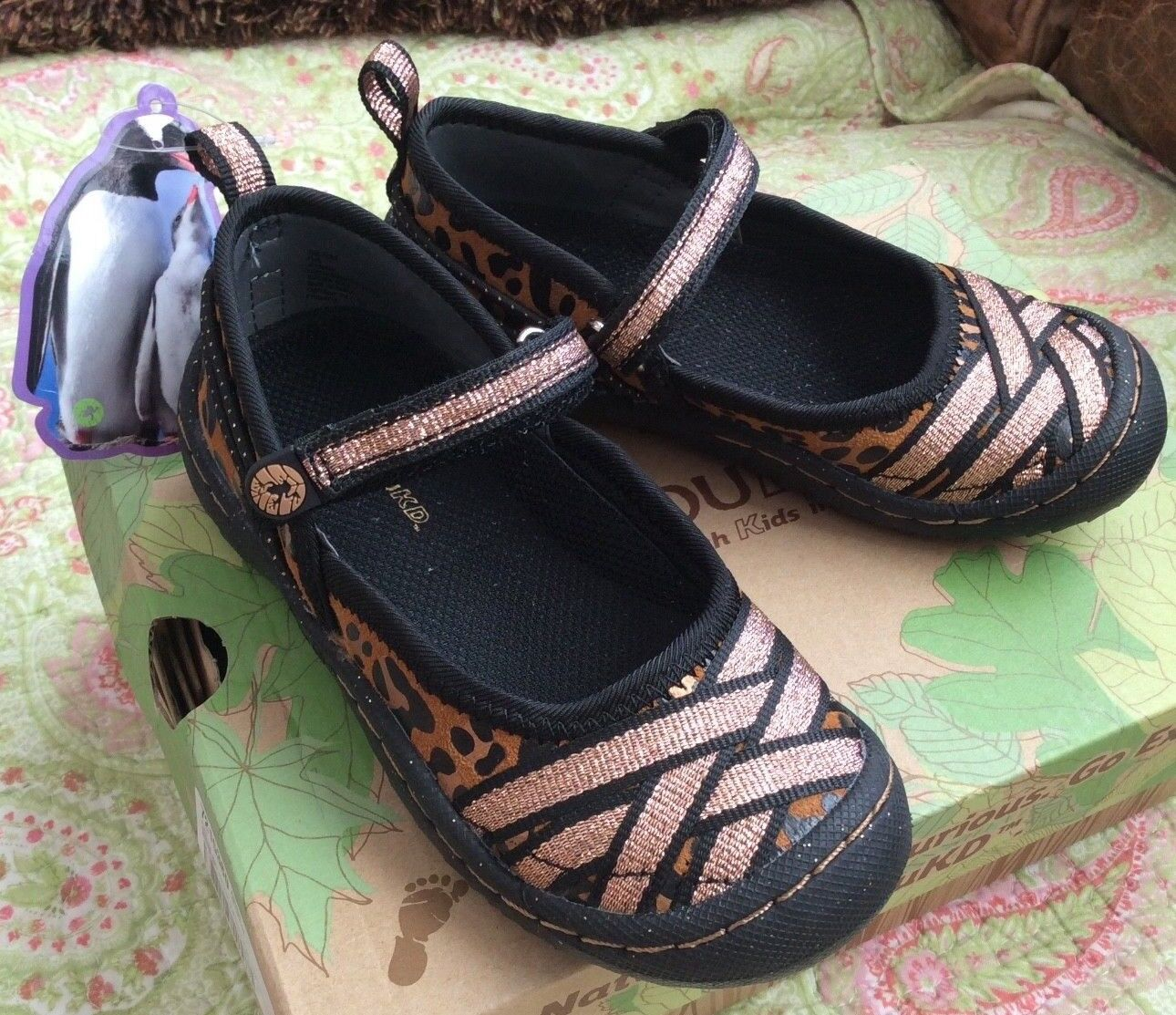 Animal Print new $55 Jambu Brown Black Gold Leather Mary Jan