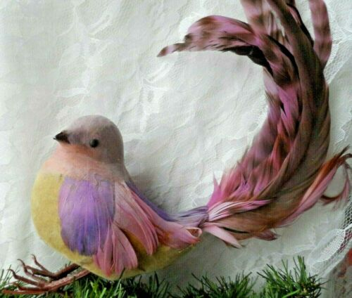Vintage Christmas Decor/Ornament - WIRE-ON LAVENDER & PINK BIRD w/REAL FEATHERS