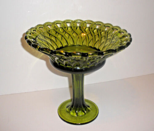 Vintage Beautiful Large Tall Avocado Green Pretzel Braided Open Lace Compote