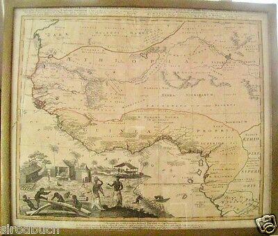 Origianal altkolorierte Landkarte Afrika Guinea Äthiopien Nigeria..1743 Homann