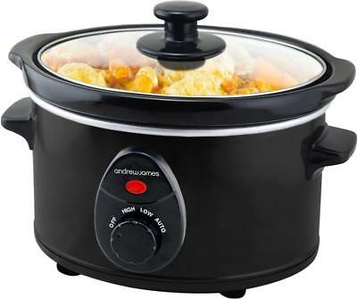 Andrew James Small Slow Cooker | Black | 1.5L | 120W