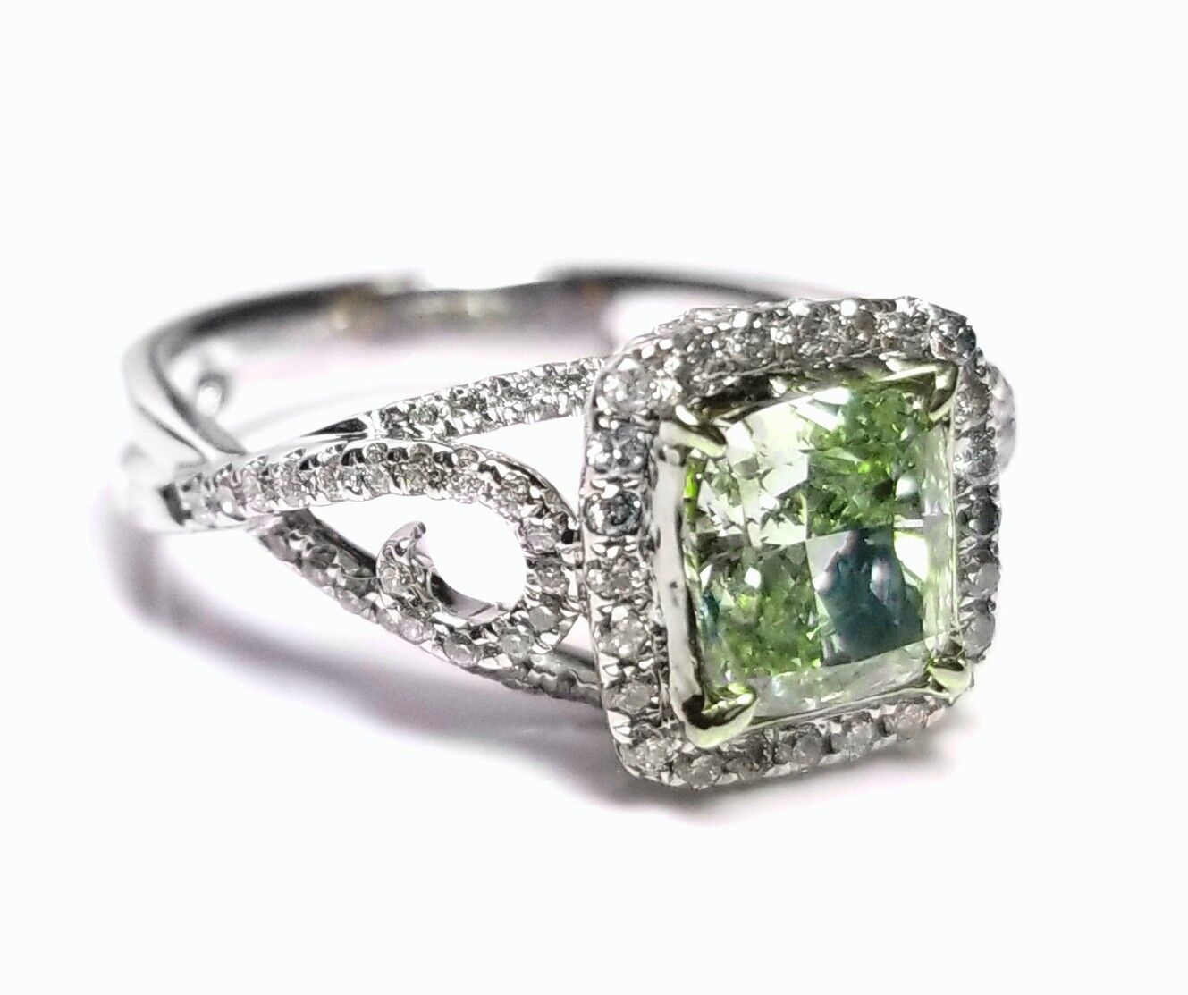 1.73ct Natural Fancy Green Diamond Engagement Ring GIA 18K White Gold Cushion 4