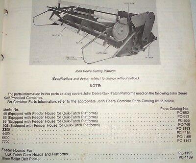 John Deere Combine Quik-tatch Platforms Parts Catalog Manual Fits 45 Thru 7700