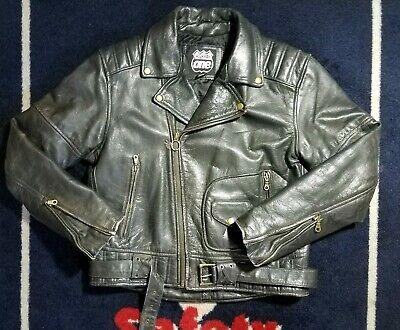 Vtg 50s Black Leather Biker Jacket - 50s Leather Biker Jacket