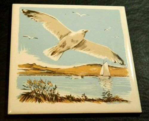 "CERAMIC SCREEN CRAFT PHYLLIS HOWARD TILE TRIVET SEAGULL DESIGN CORK BACK 6""X6"""