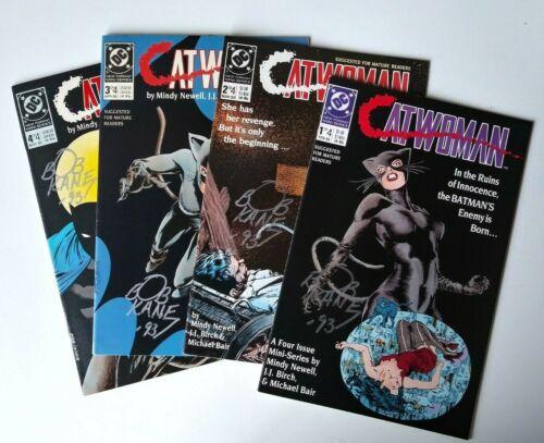 1989 DC 1ST SERIES CATWOMAN SET 1-4 MINDY NEWELL JJ BIRCH 4 SIGNED BOB KANE COA