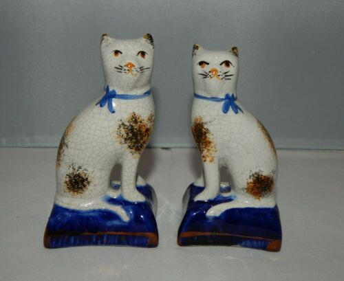 Antique VTG Miniature Pair Staffordshire Cat Figurines Blue Bow Hand Painted