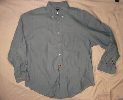 NAUTICA SHIRT LARGE BLUE CHAMBRAY BUTTON FRONT BUTTON-DOWN OXFORD 80'S TWO-PLY