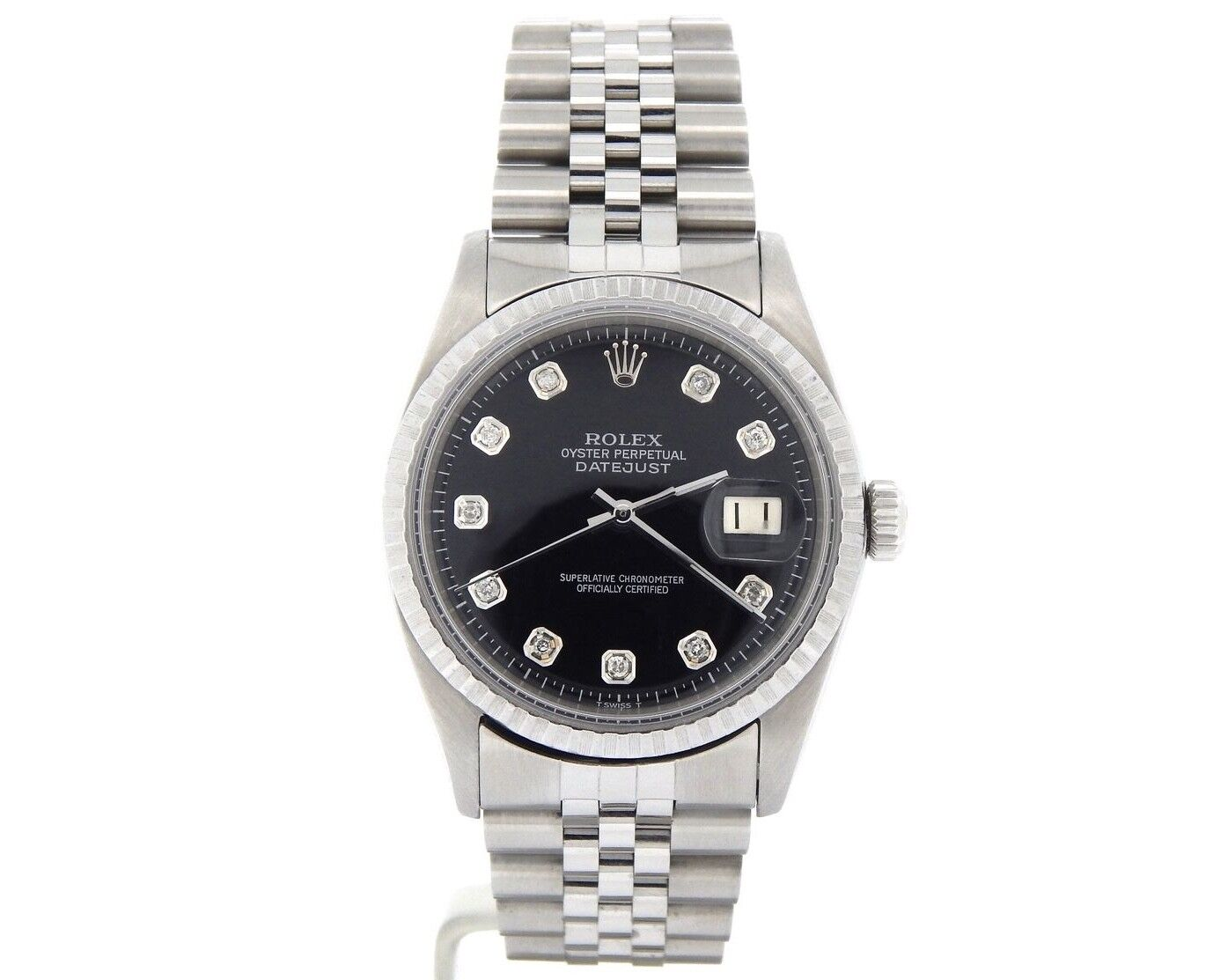 $2900.00 - Mens Rolex Datejust Stainless Steel Watch Jubilee Black Diamond Dial 1603