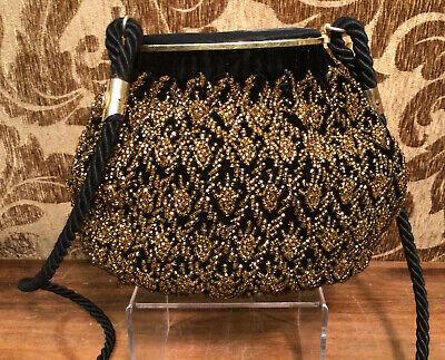 True Vintage Late 1970s GUCCI Gold Beaded Black Velvet & Satin Purse Hand Bag