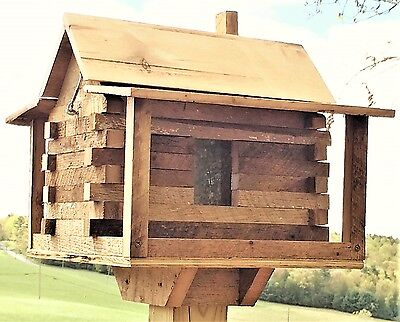 Log Cabin Bird Feeder From Antique Reclaimed Barn Hardwood-Handmade Handcrafted