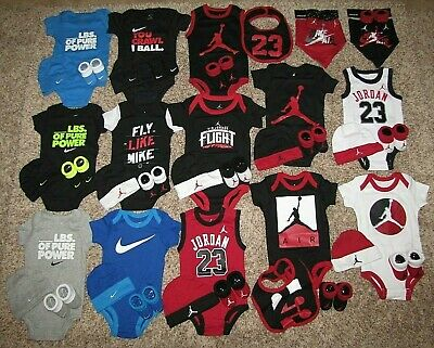 Air Jordan Nike Newborn Baby Boy Girl Set 0-6 Months Bodysuit Booties Coverall