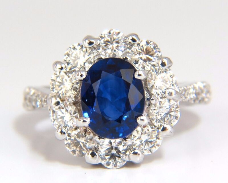 $9500 Gia 3.67ct Natural Vivid Royal Blue Diamonds Ring Cluster Halo 18kt