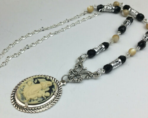 Vintage Inspired Necklace Cameo Resin Mother of Pearl Glass Angel Cherub Pendant