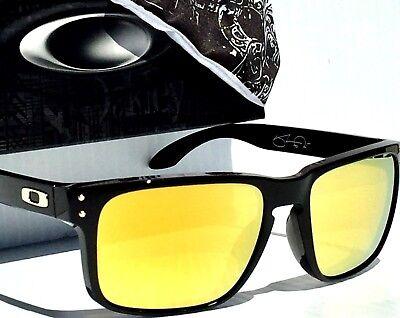 NEW Oakley HOLBROOK BLACK SW w 24K Gold Fire Lens Sunglass OO9102-08
