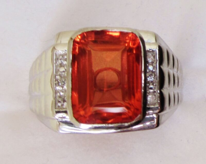 Sunfire Quartz  & White Topaz Ring in Sterling Silver sz 11.75