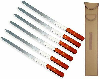 """Lavo Home Stainless Steel Kabab Skewers with Storage Bag 23"""" Long x 1"""" Wide..."""