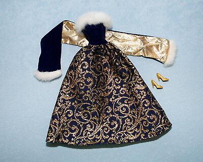 ELEGANT Navy Blue & Gold Winter Formal Genuine BARBIE Gown w/ Wrap & Heels
