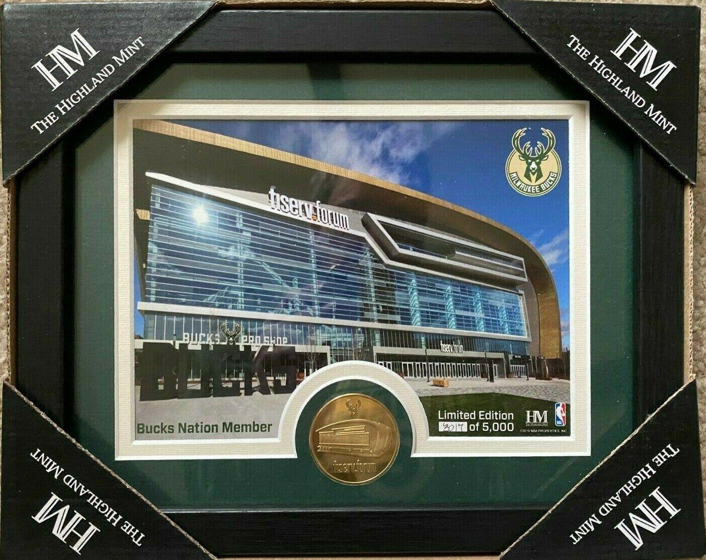 Milwaukee Bucks Highland Mint Coin Fiserv Forum #3017/5000 G