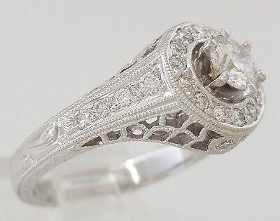 0.75 ct 18K White Gold Round Diamond Halo Engagement Ring GIA Rtl $2,700 3