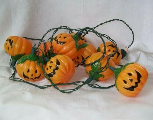 Vintage String Lights 10 Plastic Blow Mold Halloween PUMPKINS / JACK-O-LANTERNS