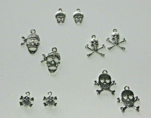 "Halloween Skull Ornaments Earrings Pendent Charm 1""  Metal, Mini Tree, 5 Pairs"