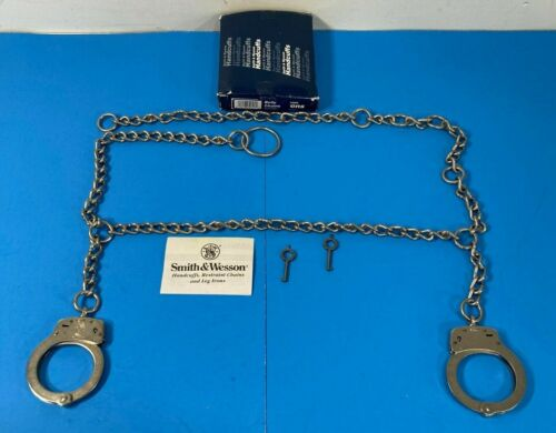 """NEW SMITH & WESSON 1800 BELLY CHAINS WITH CUFFS WAIST CHAIN HANDCUFFS 54"""""""