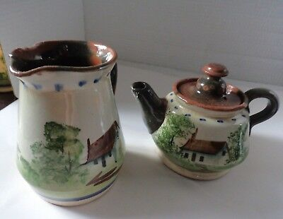 vintage Torquay motto ware style teapot & jug seconds incomplete?