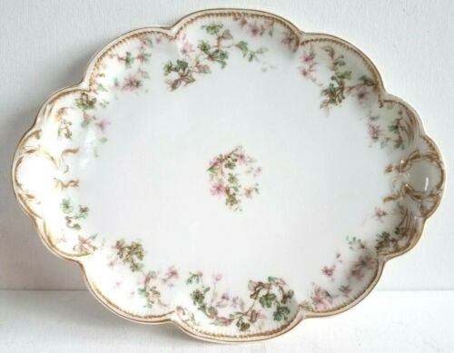 Haviland Limoges Double Gold Serve Platter Vanity Tray Green Pink Flower France