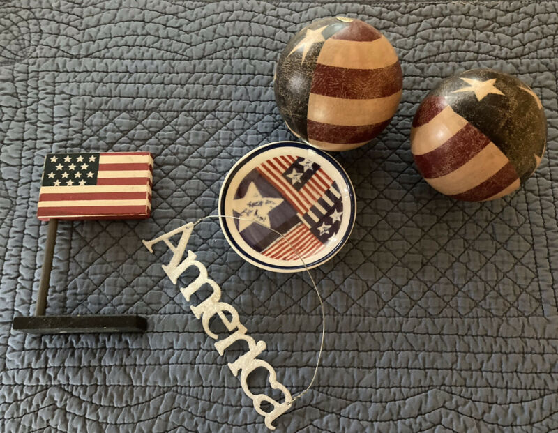 Lot of 4th of July Decorations Trinket Dish Wood Flag 2 Orbs America Sign Great!