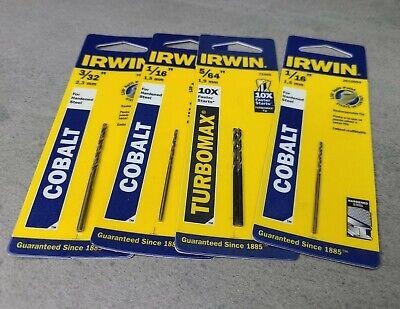 LOT OF 4 IRWIN Cobalt Steel And Torbomax Drill Bit, 3/32 1/16 5/64 1/16