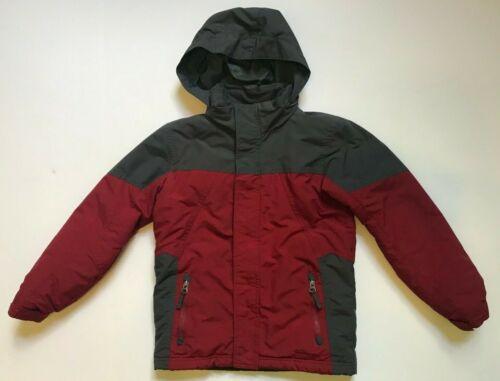 LL BEAN Boys JACKET Coat Hooded Thinsulate BURGUNDY Gray Size L 6X/7