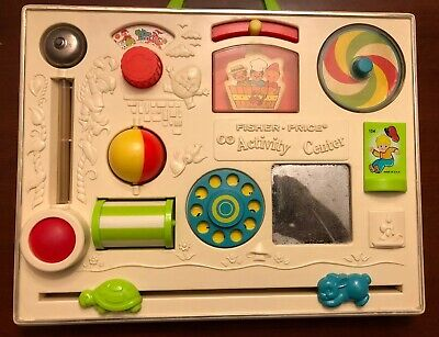 VINTAGE FISHER PRICE ACTIVITY CENTER BUSY BOX #134 BABY CRIB TOY INFANT 1973