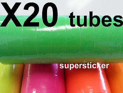 Green Price Tags For Mx-6600 2 Lines Gun 20 Tubes X 14 Rolls X 500