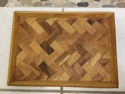 Mid-Century Modern Marquetry Wood Herringbone Inlay Cocktail Tray VINTAGE!
